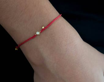 Red Bracelet with charm, 0.06 ctw. Diamond braided bracelet in 14k solid gold