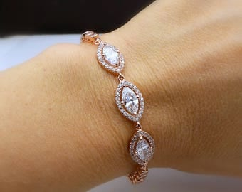 Wedding jewelry bridesmaid gift party prom christmas bridal bracelet marquise rose gold halo clear white cubic zirconia adjustable slider