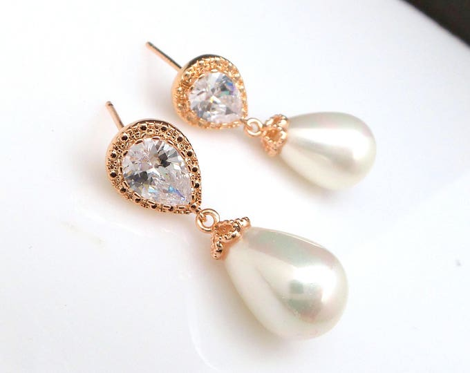 wedding bridal jewelry bridesmaid gift teardrop off white shell pearl earrings with cubic zirconia deco teardrop rose gold post earrings