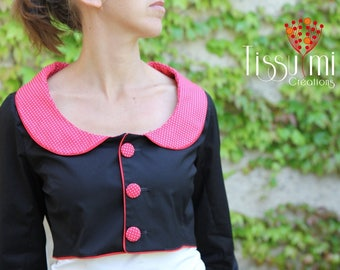 CAMISOLE COL CLAUDINE red and black polka dots