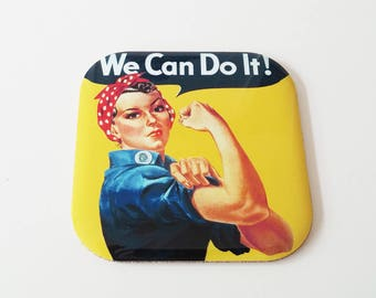 We Can Do It Functional Coaster , Rosie The Riveter, Feminist, Gift For Her, Woman Power, Gift for Coffeelovers, Drinkware, Coasters