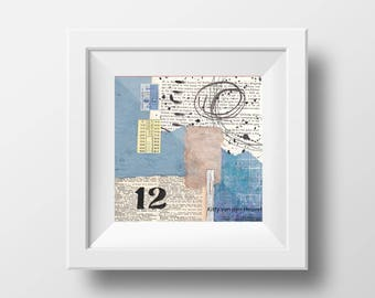 "Twelve / 12 - an original mixed media collage - 8""x 8"""