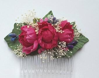 Bridal Hair Comb, Wedding Comb Flower Comb, Floral Wedding Comb, Dark Pink Bridal Comb, Wedding Flower Comb Brides  Bridesmaids Mother
