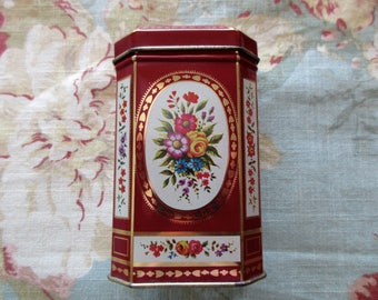 vintage floral DECORATIVE TIN with hinged lid- red, gold, made in England