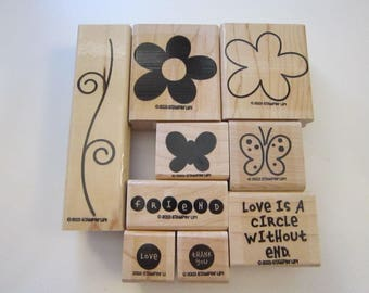 9 rubber stamps - LOVE WITHOUT END two step stampin' - Stampin Up 2003