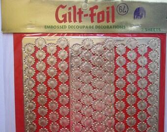 vintage Gilt-Foil DRESDEN paper lace - embossed gold paper decoupage decorations, foil scrap
