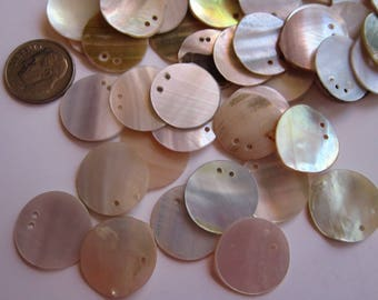 50 shell discs - dangles - double drilled, 3/4 inch, 18mm wide  - MOP shell paillettes