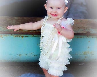Ivory Baby Girl Lace Ruffled Petti Romper Set Headband Brooch, Special Occasion, First Birthday