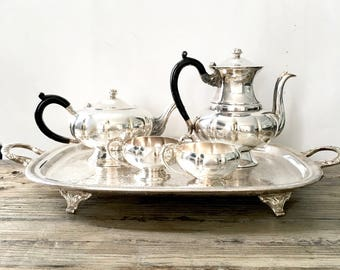 Silver Tea Set on Tray /  Full service Silver Tea Set / Teapot Coffee pot and Cream and Sugar on a Silver Tray