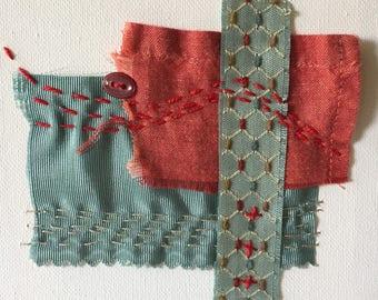 Small Art Fabric Collage - Fibre Art Stitch Meditation - Hand Stitching - Slow Stitch