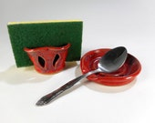 Pottery spoon rest sponge holder set, ceramic spoon rest, stoneware spoon rest, pottery sponge caddy, red spoon holder