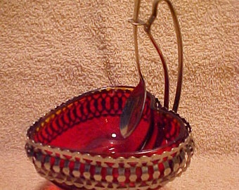 Ruby Red Heart Silver Plated Compote Candy Dish w/Spoon - Sheffield England