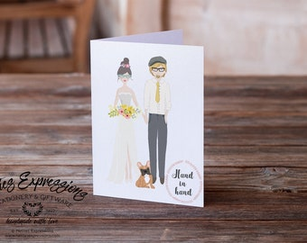 Hand in Hand, Cute Couple, A6 Card, Wedding Card, Greeting Card, Stationery, Engagement Card, Linen Card, Wedding Gift, Marriage Card