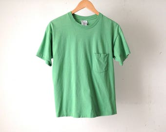 vintage POCKET faded sheer cozy GREEN faded t-shirt
