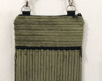 Crossbody Bag, Zippered Shoulder Purse, Sling Bag, Small Travel Purse, iPad, Green Corduroy