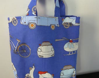 Library Bag book bag royal blue cars, vespa, bus, helicopter BAck to School