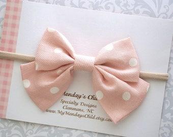 Blush Baby Bow, Baby Bow Headband, Baby Headband, Blush Pink Hair Bow, Blush Bow Headband, Toddler Headband, Toddler Bows, Baby Girl Bow