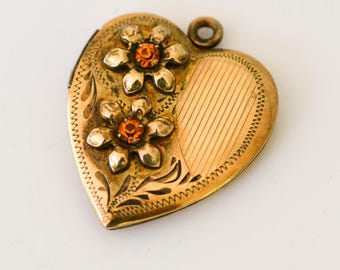 Heart Locket with Rhinestones, Gold and Sterling