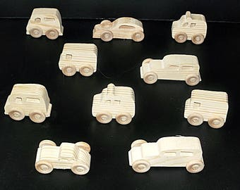 10 Handcrafted Wood Toy Vans, Police Vans, Cars   OT-20  unfinished or finished