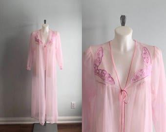 Vintage Pink Chiffon Neglegee, Vintage Chiffon Robe, Vintage Negligee, Vintage Robe, 1960s Chiffon Negligee, 1960s Chiffon Robe