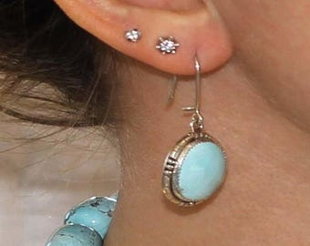 Summer Sale : ) Jewelry Sale  - ) Kingman Turquoise Earrings Pale Sky Blue Large #2