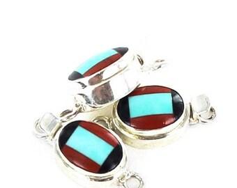 Summer Sale : ) Turquoise Red Jasper Black Agate Clasp New World Gems