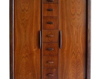 ON SALE Dyrlund Highboy Hiboy Dresser of Rosewood from Denmark, Tambor Doors, circa 1970