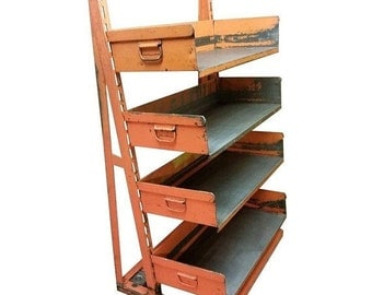ON SALE Factory Storage Bookcase or Bookshelf Cart, Orange and Steel A-Frame on Wheels