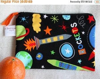 "On Sale Zippered Reusable Snack Sack, Half Size - 7.5"" x 5""-EcoFriendly, Machine Washable, Space / Rocket motif"