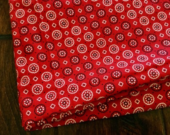 "42"" x 48"" Piece Red Cowboy Screen Print Print Fabric / Quilting Fabric Home Decor Bandana S120"