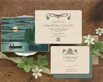 Destination Wedding, Rustic Wedding Invitation, Lake Wedding Invitation, Woodland Wedding, Lake Themed Wedding Invitation, Canoe Wedding