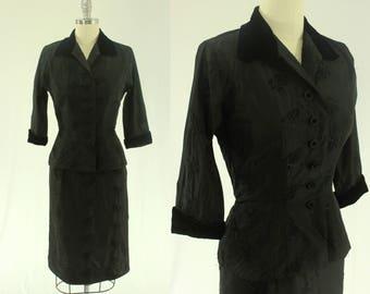 1950's Black Dress Suit XS S Jacket Skirt Velvet Taffeta