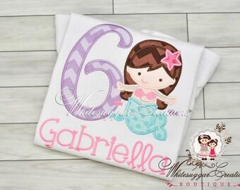 Girls Mermaid 6th Birthday Shirt - Custom Mermaid Birthday Outfit - Purple and Aqua Girl Mermaid Party Outfit - 1st, 2nd, 3rd Birthday Shirt
