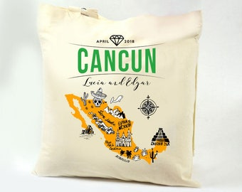 LUCIA Cancun Mexico Illustrated Map Wedding Canvas Tote / Swag Bag