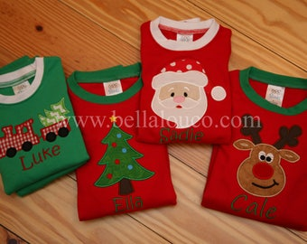 Christmas Pajamas, Children Pajamas, Family Pajamas, Appliqued