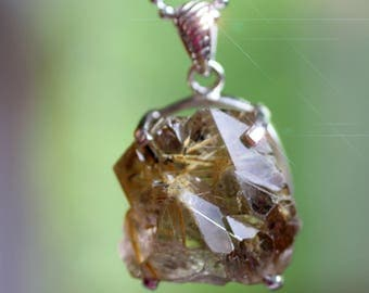 Golden Needles - Gorgeous Natural Rutilated Quartz Crystal Sterling Silver Necklace