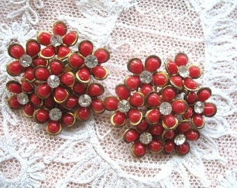 Vintage Plastic & Rhinestone Earrings ~ Red Flowers ~ Clip On