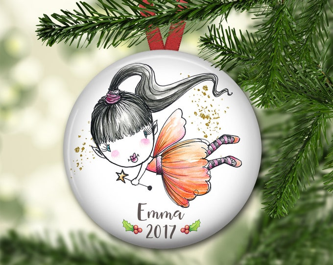 fairy ornament for tree - personalized Christmas ornaments for kids - baby's first christmas ornament - fairy decorations - ORN-PERS-10