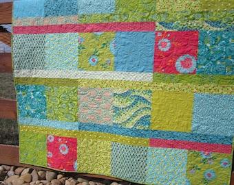 Quilts, Green Blue Quilt, Boho Quilt,  Handmade Quilt, Homemade Quilt, Patchwork Quilt, Lap Quilt, Throw Quilt, Modern Quilt
