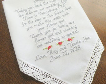 Flower Girl Gifts, flower girl wedding gift, Personalized custom wedding day gift for your flower girl, By Canyon Embroidery