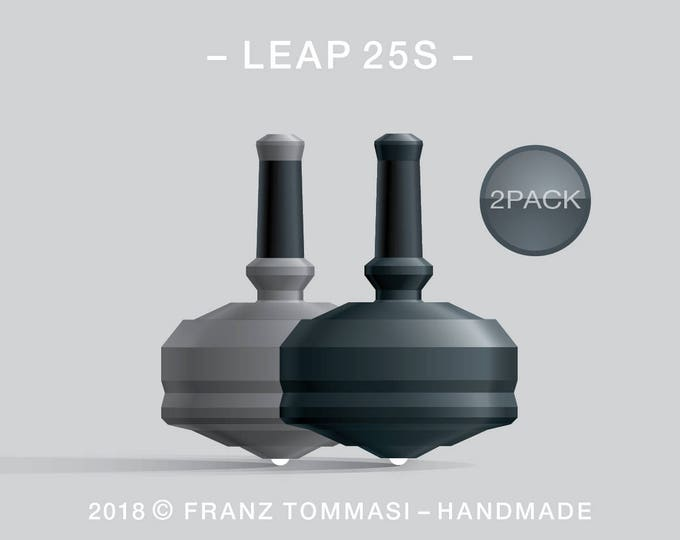 LEAP 25S 2PACK Gray-Black – Value-priced set of precision handmade spin tops with ceramic tip and integrated rubber grip