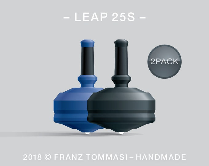 Leap 25S-2Pack (Blue-Black) – Value-priced set of spin tops with ceramic tip and rubber grip