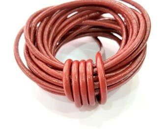 Leather Claret red Cord 1mt-3.3 ft (4mm) Round Leather Lacing G7935