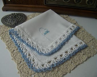 Bridal Handkerchief, Hanky, Hankie, Something Blue, Bridal Keepsake, Hand Crochet, Lace, Heart, Embroidered, Personalized,  Ready to ship