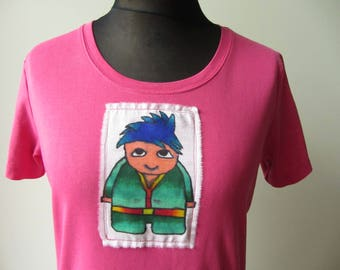 Hand Painted Pink T-Shirt, Sharpie Art Shirt, Upcycled Clothing, Japanese Anime Shirt, Recycled T Shirt, Cartoon Character T-Shirt, Hipster