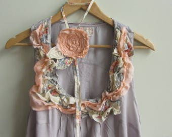 Mori Girl Dress, Boho Chic Clothing, Shabby Chic Tunic, Upcycled Clothing for Women, Romantic Summer Dress, Peasant Prairie Chic Style