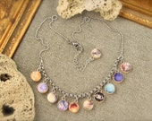 Planets Cosmos Solar System Earth Saturn Moon Charm Necklace
