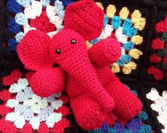 Crochet Elephant, Soft Toy, Plush, Amigurumi, Reggie the Red Elephant
