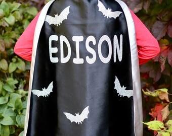 BAT Boy Cape - Personalized Bat Superhero Cape -  Fast Shipping - Bat Halloween Costume - superhero cape - bat party theme
