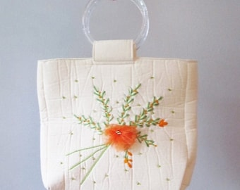 50% OFF SALE Vintage 1970's Orange Floral Handbag / Creamy-White Retro Mod Loop Handle Tote Bag Purse